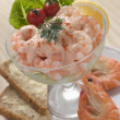 Prawn Cocktail in a glass with Brown Bread — Stock Photo