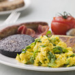 Full Irish Breakfast with Irish Soda Bread — Stock Photo