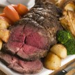 Royalty-Free Stock Photo: Roast Rib eye of British Beef with all the Trimmings