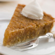 Stock Photo: Slice of Treacle Tart with Whipped Cream
