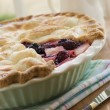 Hot Blackberry and Apple Pie - Stock Photo
