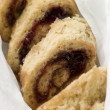 Jam Roly Poly in Muslin - Stock Photo