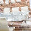 Empty boardroom through a window — Stock Photo