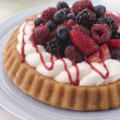 Stock Photo: Whipped Cream and Berry Sponge Flan