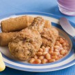 Southern Fried Chicken with Croquette Potatoes and Baked Beans — Stock Photo