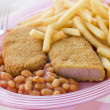 Breadcrumbed Luncheon Meat with Baked Beans and Chips — Stock Photo #4767405