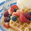 Sweet Waffles with Berries Ice Cream and Syrup - Stock Photo