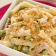 Stock Photo: Macaroni Cheese with Peas Ham and Toasted Crumb