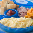 Stock Photo: Scrambled Egg with Toast Ham and Cheese Squares