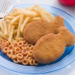 Royalty-Free Stock Photo: Fish Cakes with Spaghetti Hoops and Chips