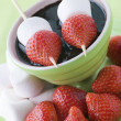 Royalty-Free Stock Photo: Strawberry and Marshmallow Sticks with Chocolate Sauce