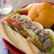 Tuna Egg and Salad Baguette with Fresh Fruit - Foto Stock