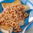 Stock Photo: Spaghetti Hoops on Star Shaped Toast