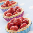 Stock Photo: Strawberry Custard Tarts