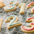 Number Shortbread Biscuits with Icing — Stock Photo