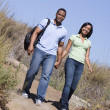 Couple walking on path holding hands and smiling — Stock Photo #4767808