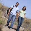 Couple walking on path holding hands and smiling — Stockfoto