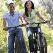 Couple on bikes outdoors smiling — Stock Photo #4767816