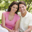 Stock Photo: Couple sitting outdoors smiling