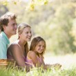 Family at park having a picnic and smiling — Stock Photo #4767973