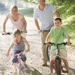 Family on bikes on path smiling — Stock Photo #4768001
