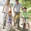 Family sitting on bikes on path smiling - 图库照片
