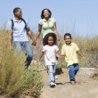 Family walking on path holding hands and smiling — Stock Photo