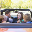 Family in convertible car arguing — Stock Photo