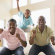 Photo: Two men and young boy in living room cheering and smiling