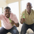 Two men in living room with beer bottles cheering and smiling — ストック写真