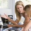Woman and young girl in home office with computer looking unhapp — Stock Photo