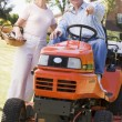 Couple outdoors with tools and lawnmower pointing and smiling - Stock Photo