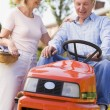 Couple outdoors with tools and lawnmower smiling — Stock Photo #4768763