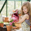 Young girl in greenhouse watering potted plant smiling - 图库照片