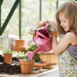 Young girl in greenhouse watering potted plant smiling — Stock Photo #4768799