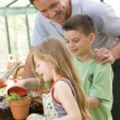 Man in greenhouse helping two young children putting soil in pot — Stock Photo