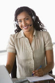 Female telesales worker — Stock Photo