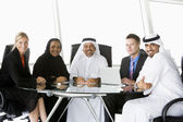A business meeting with Middle Eastern and caucasian men and wo — Stock Photo