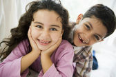 Portrait of a Middle Eastern brother and sister — Stock Photo