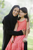A Middle Eastern woman and her daughter sitting in a park — Stock Photo