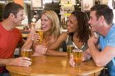 集团的年轻朋友喝酒和栏中笑 — 图库照片