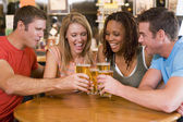 Group of young friends toasting in a bar — Stock fotografie