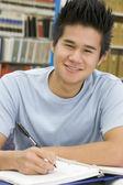 Univerzitní student, pracující v knihovně — Stock fotografie