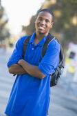 University student wearing rucksack — Stock Photo