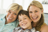 Mother with grown up daughter and son — Stock Photo