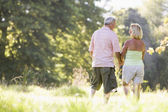 Couple walking in park holding hands — Stock Photo