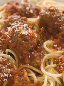 Spaghetti Meatballs sprinkled with Parmesan Cheese — Stock Photo