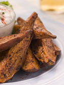 Sweet Potato Skins with a Blue Cheese Dip — Stock Photo