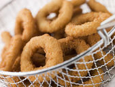 Breaded Onion Rings in a Basket — Stock Photo