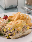 Open Tuna and Sweet corn Melt with Coleslaw and Fries — Stock Photo